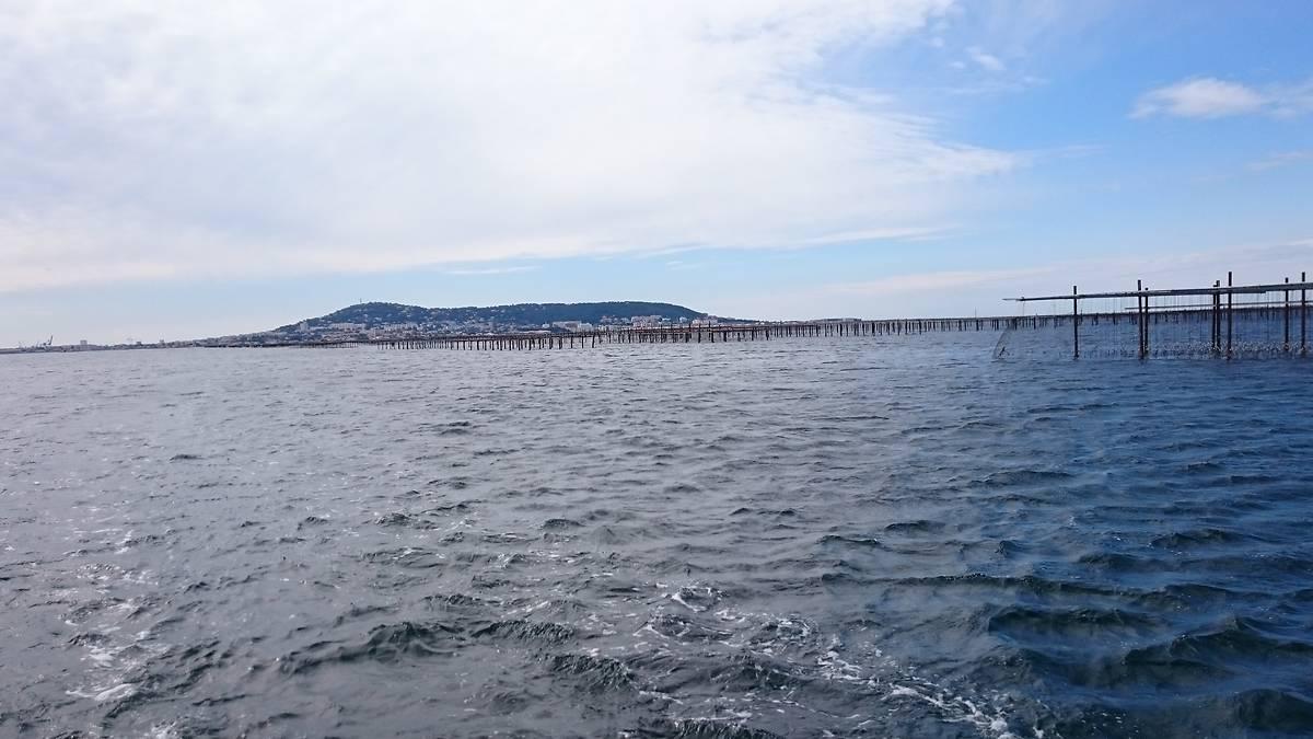 Visite en bateau de l'étang de Thau et des mas conchylicoles - vue de Sète