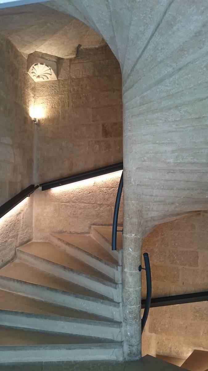 Escalier à vis qui remplaça le degré médiéval lors des réaménagements en 1661 , et provoqua la destruction d'une partie de la chambre peinte. Cet escalier  donnait avant  sur la cour, ce qui n'est plus le cas aujourd'hui fermé