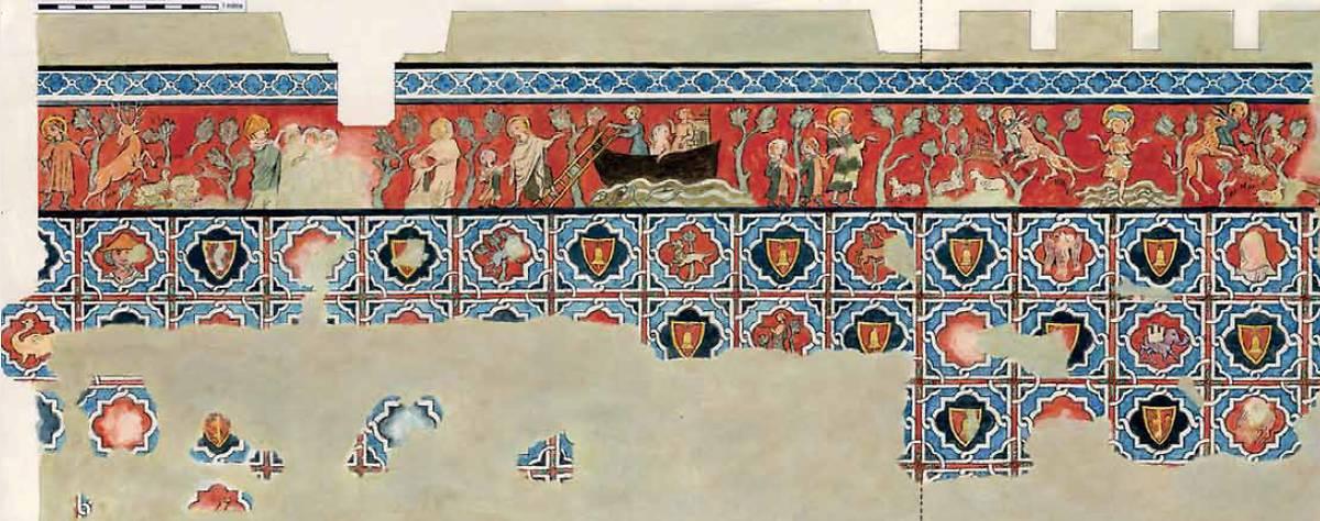 Relevé schématique du décor peint de la chambre réalisé au moment de la découverte en 1999. Le pointillé localise le pli du mur : mur ouest, à gauche, mur nord à droite. Les échancrures correspondent à la place de la poutre et des solives.