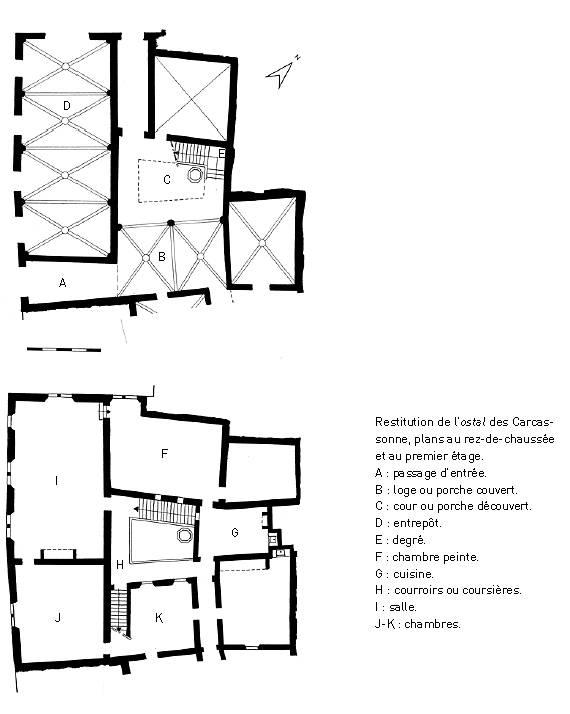 Restitution de l'ostal des Carcassonne, plans au rez-de-chaussée et au premier étage.