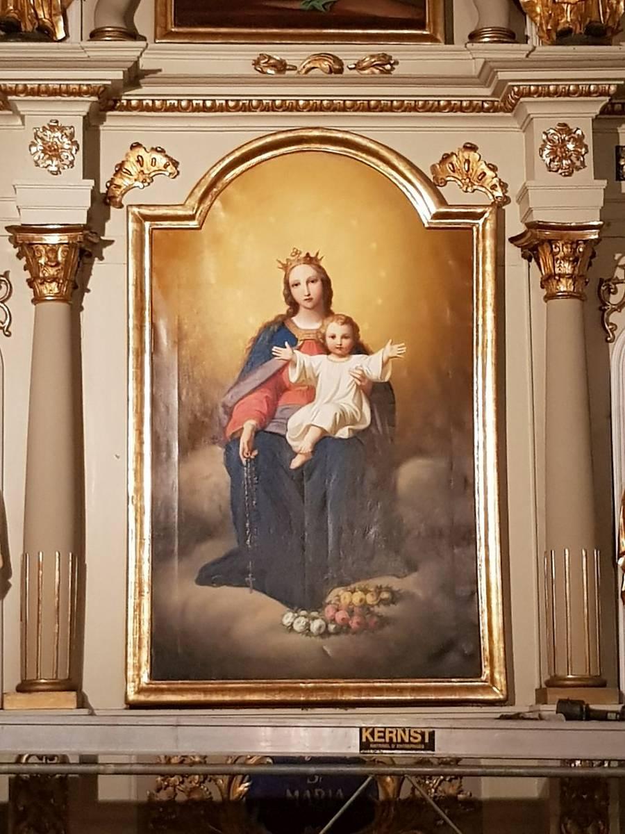 Tableaux de l'église St-Léger de Koestlach : Vierge à l'Enfant, après restauration