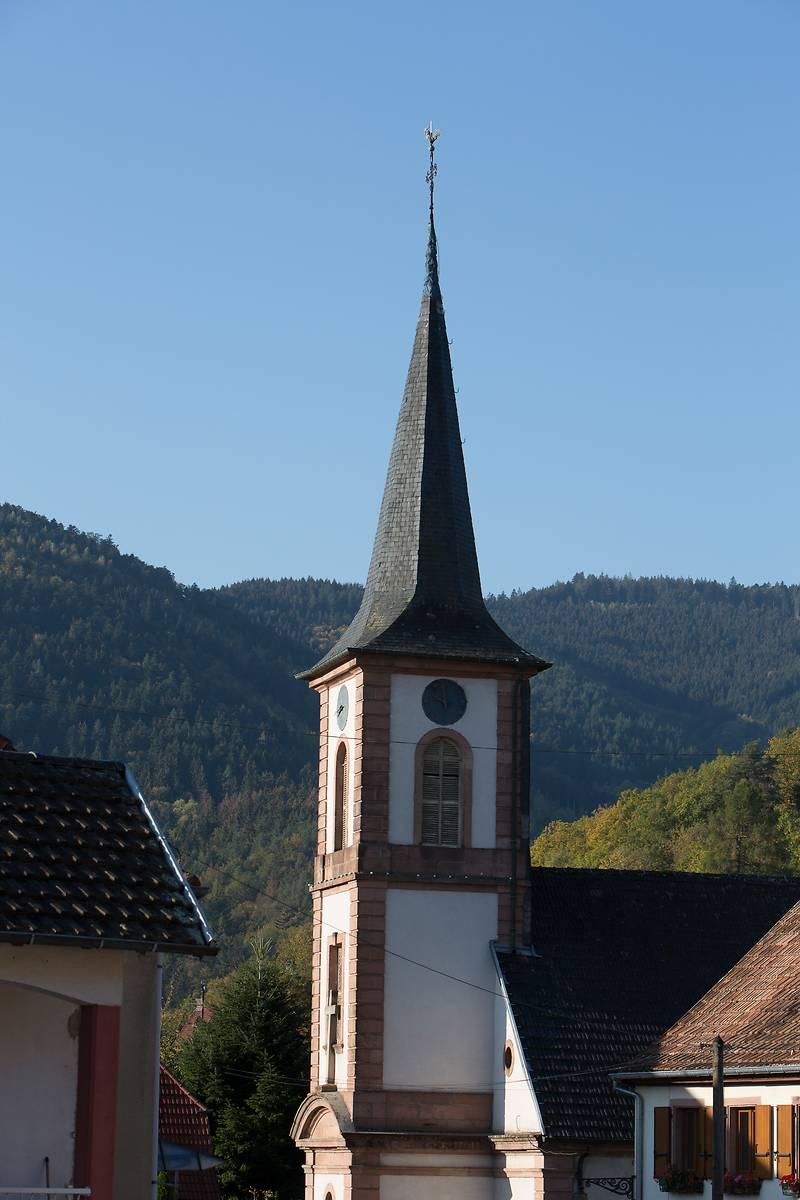 le clocher de l'église Sainte-Aurélie de Lalaye