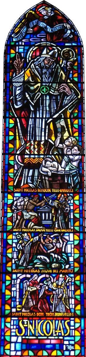 Vitrail de l'église Saint-Nicolas de Village-Neuf