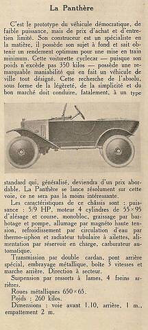 LA PANTHERE CYCLE CAR DE 1921